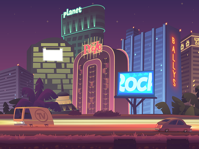 Runner game - Las Vegas background night vector digital art 2d art game ios background las vegas
