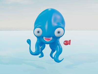 Blue Octopus cartoon cute 3d illustration animal smile blue character blender 3d