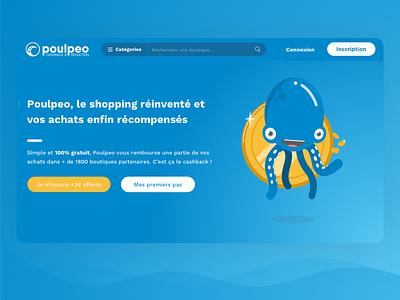 Poulpeo website caracter blue homepage landing page ui design poulpeo cashback octopus ui website