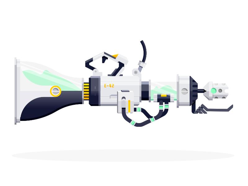 Goo Gun icons illustrator flat shaded concept overwatch guns epic armory