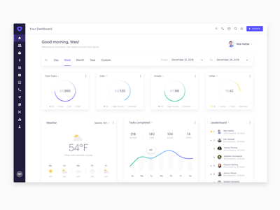 Outreach - Dashboard Concepts ux ui white light clean dashboard