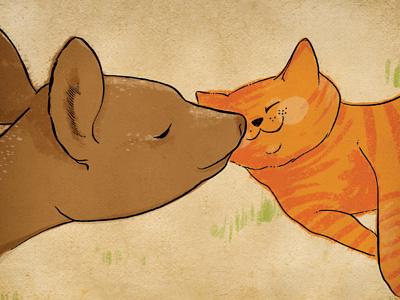 deer+cat snuggle deer cat snuggle animals love friendship