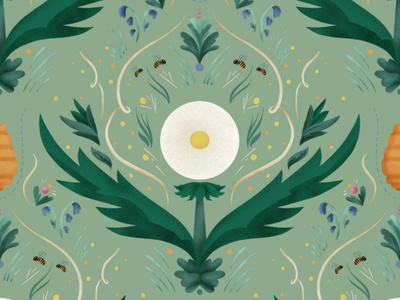 The Pollening decorative pattern weeds pollen bees nature repeat pattern repeat dandelion