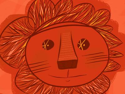 orange lion lion face