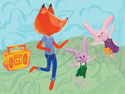 Spring Dance Party boom box bunnies fox spring dancing
