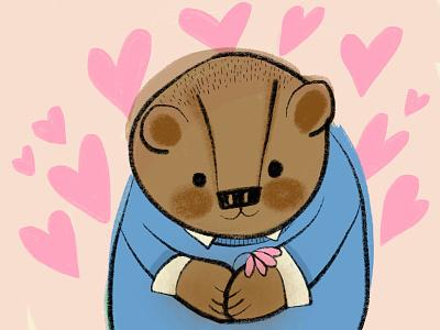 Love Bear hearts flower bear in sweater