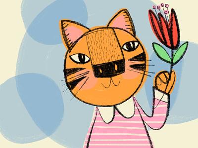 Sweet Tiger peter pan collar flower tiger girl
