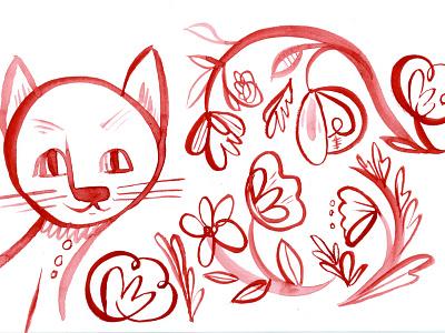 kitten in the woods cat flowers watercolor