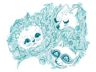 Woodland Friends flowers raccoon deer bear watercolor pencil