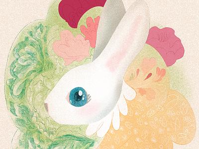 Happy Easter lettuce rabbit bunny spring easter
