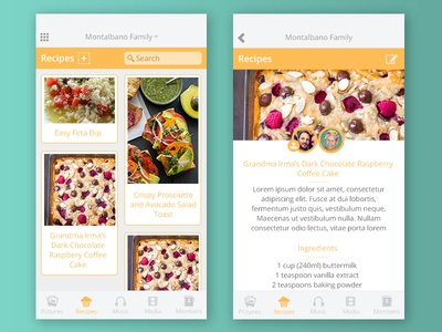 Mobile App Concept layout recipe cooking design mobile concept ui app