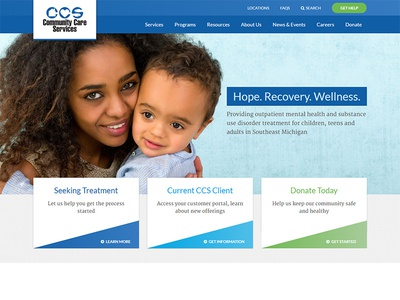 Community Care Services Home Page design home page hero hero image