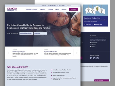 Dencap Homepage dental insurance homepage design website