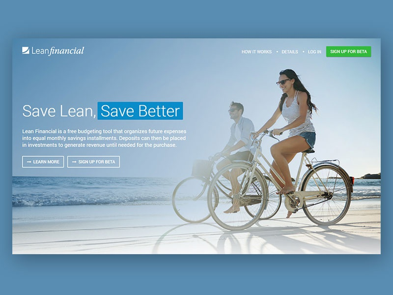 Lean Financial Marketing Site home page marketing site design website