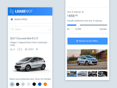 Lease Riot - Mobile user interface lease car web app ux ui responsive mobile