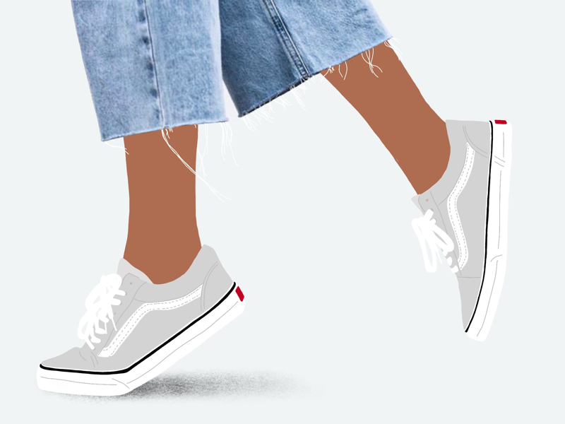 Jeans & Vans minimal procreate illustration fashion flat design collage trainers vans jeans