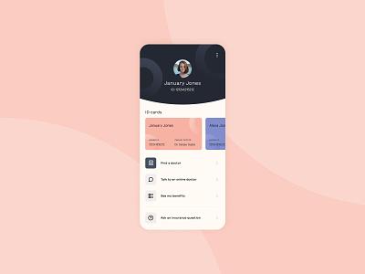 Health insurance mobile app ui