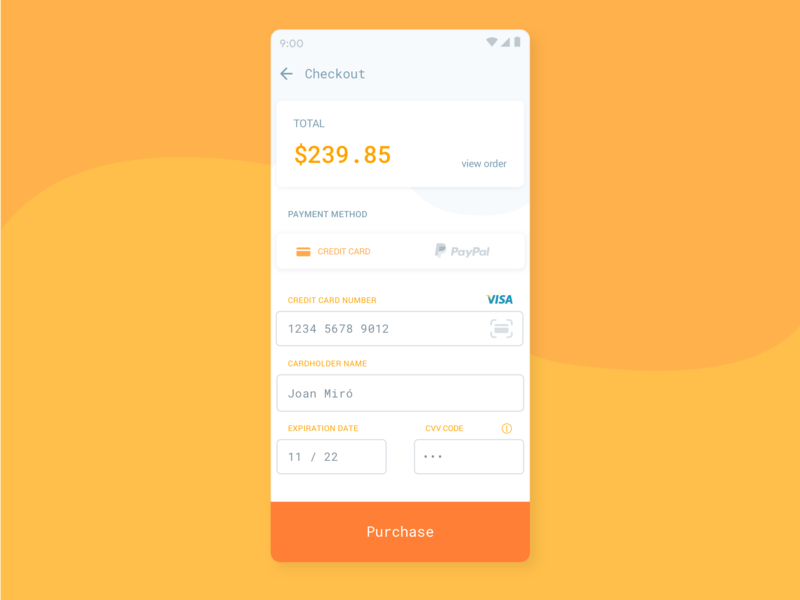 Checkout daily 100 daily ui ux orange purchase checkout form credit card checkout dailyui 002 dailyui