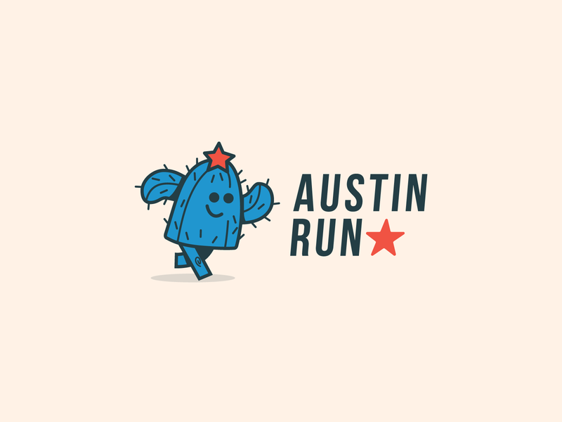 Austin Run funny cactus austin run branding design thirtylogoschallenge illustration thirtylogos