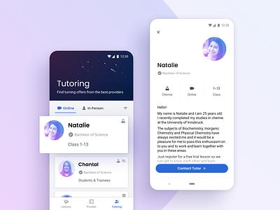 Digital Learning App ux profile mobile detail page tutors learning android ios app illustration app design ui