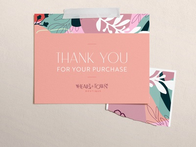 Heart of the Town Boutique Thank You Card print design brand postcard postcard design thank you card