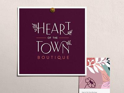 Heart of the Town Boutique leaves logo leaves logotype typography illustration logo type branding logo