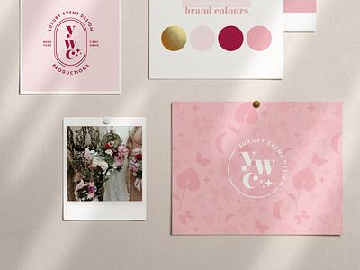 YWC Brand Design pink logo wedding planner event designer pretty logo sparkles vector icon pink logo type logotype branding logo