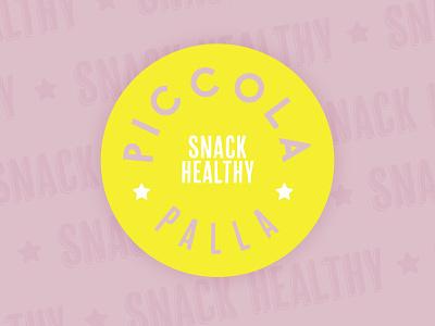 Piccola Palla Brand yellow bright colors circle pink bright typography vector design illustration branding logo