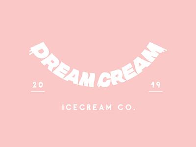 Dream Cream Branding yum design vector logo type logotype typography minimalism logo branding cute pastel pink ice cream shop ice cream icecream