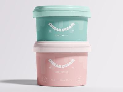 Dream Cream Packaging pink vector logo branding illustration logo type typography yum packaging design drips cute pastel packaging minimalism icecream ice cream