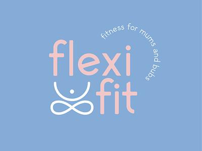 Flexi Fit yoga purple pink mum fitness fitness logo fitness mummy mum vector logotype icon design logo type typography minimalism branding logo