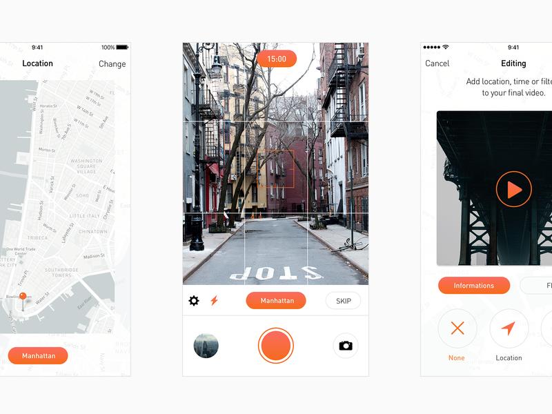 Daylog – Interface orange location twitter vlogging beme casey neistat casey technology ios iphone interface new app daylog