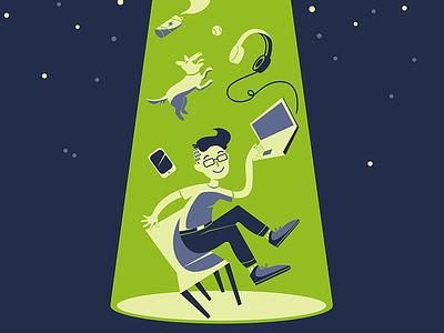 OpenLiberty.io tshirt design illustrator vector illustration vector illustration tshirt design cute aliens ufo open source open liberty