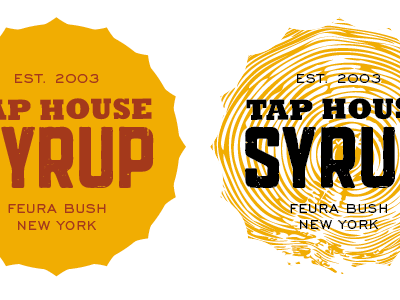 Tap House Concepts mustard yellow woodgrain slab serif