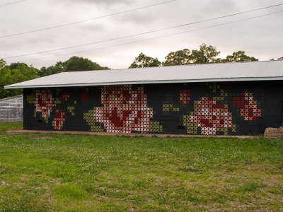 Cross Stitch Mural - Greenville, SC flower floral paint cross stitch fiber art mural design mural