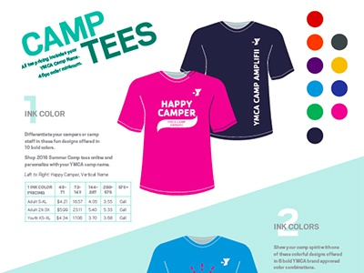 YMCA Camp Tee Flyer diagonal direct mail tees ymca