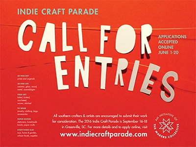2016 Call for Entries Poster indie craft parade handmade maker artist poster festival call for entries cut paper