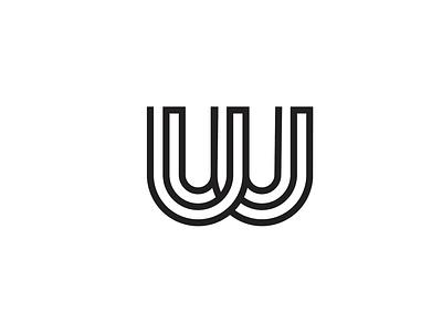 Unused W logo concept black and white logo stroke overlap w lines