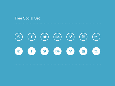 Social Icon Set *(free psd) psd myspace youtube vimeo behance twitter facebook dribbble icon social vector free flat freebie