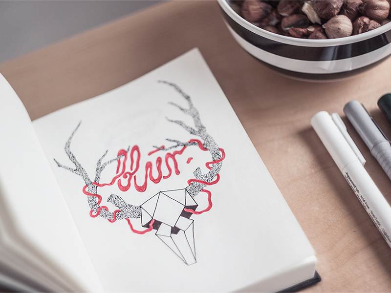 blur. book hipster skull graphic pencil paper sketch illustration deer typography blur
