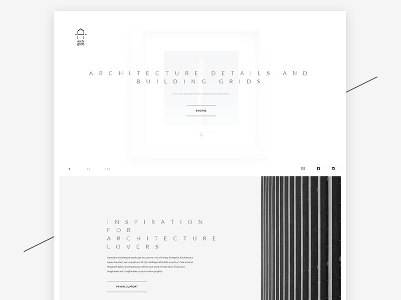 Archigrids minimal web ux ui blackandwhite gallery minimalistic architecture