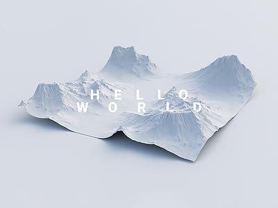 Hello World // Terrain Exploration 3d maya vray v-ray mountains snow land world hello terrain