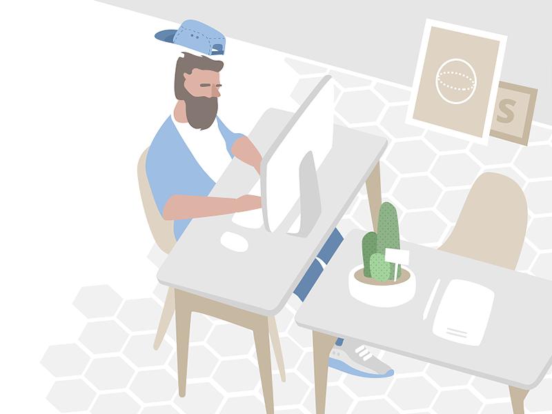 Team A connecter cactus office illustrator desk graphic illustration team