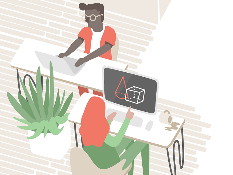 Team B connecter team office illustrator illustration graphic desk cactus
