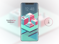Isometric Experiment vray maya mokup download template phone illustration isometric wallpaper