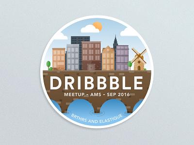 Dribbble Meetup Amsterdam Sticker vector icon logo elastique iconfinder ams badge illustration sticker amsterdam dribbble-meetup