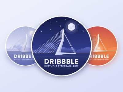 Dribbble Meetup Rotterdam Sticker landscape clouds night-time vector sticker logo illustration sunset icon dribbble-meetup badge rotterdam