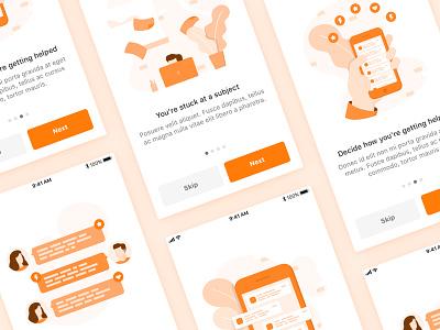 Onboarding illustrations chat notification sneak-peek ux ui application steps walkthrough ios-app design illustrations onboarding