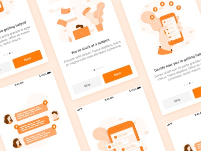 Onboarding illustrations chat notification sneak-peek ux ui application steps walkthrough ios-app design illustrations onboarding