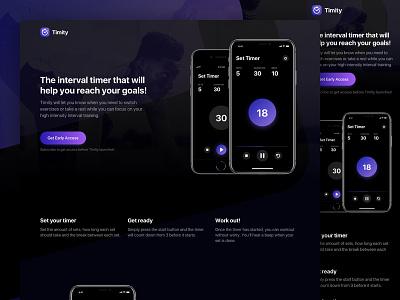 Meauve – Interval Timer App Website product theme dark clean timer pulse design gradient ux ui app website